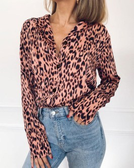 Leopard Print V-Neck Casual Long Sleeves Polyester Tops