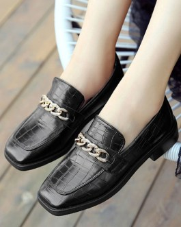 Loafers PU Leather Square Toe Chains Slip On Shoes