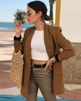 Long Sleeve Vintage Double Breasted Blazer