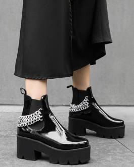 PU Leather Round Toe Chains Chunky Heel Ankle Boots