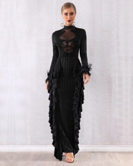 Sexy Long Sleeve Lace Pearls Ruffles Bodycon Celebrity Party Dress