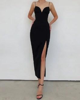 Sexy V Neck Spaghetti Strap Bodycon Runway Party Maxi Dress