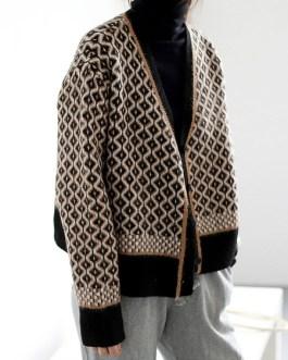 Sweaters V Neck Long Sleeve Geometric Short Cardigans
