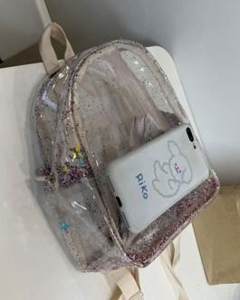 Sweet Lolita Bag Transparent PU Leather Stars Shining Backpack