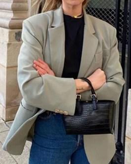 Turndown Collar Long Sleeve Oversized Blazers