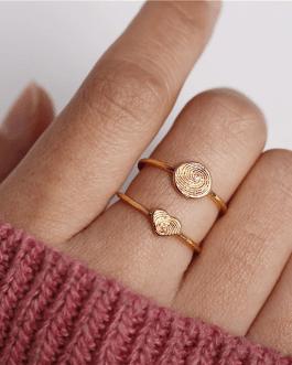Vintage Geometry Round Heart Rings Set
