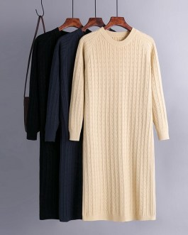 Casual Loose Long Sleeve Jumper Warm Straight Sweater Dresses