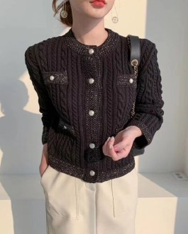 Fashion Solid Single Breasted O Neck Open Sweaters