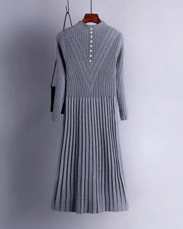 Long Sleeve Pleated Warm Street Wear Jumper Sweater Dress
