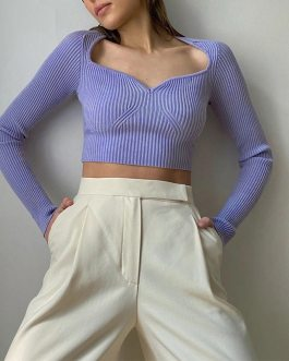 Long Sleeve Pullover Cropped Jumper Vintage Knitted Sweater