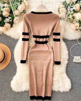 Long Sleeve Striped Elastic Bodycon Slim Pencil Sweater Dresses