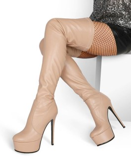 Over The Knee PU Leather Round Toe Platform Thigh High Boots