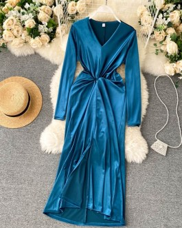 Retro V Neck Long Sleeve Asymmetry Fashion Sexy Split Midi Long Dresses