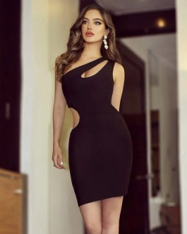 Sexy One Shoulder Sleeveless Hollow Out Bandage Party Dresses