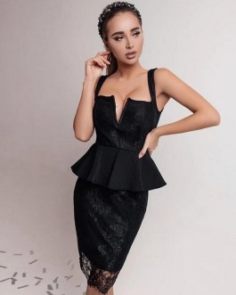 Sexy Spaghetti Strap Lace Bandage Ruffles Club Dresses