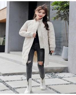 Slim Solid Fashion Parkas Cotton Padded Coat