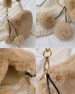 Sweet Lolita Heart Shaped Faux Fur Pom Poms Cross Body Bag