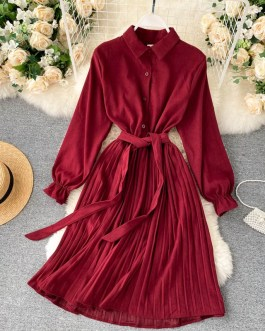 Turn-down Collar Long Sleeve Elegant A-line Office Dresses