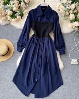 Turn-down Collar Long Sleeve Fashion A-line Dresses