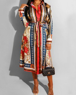 Turndown Collar Long Sleeve Lace Up Striped Long Dress