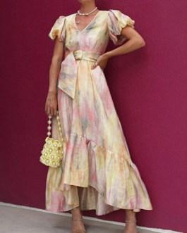 V-Neck Short Sleeves Printed Lace Up Irregular Long Dress