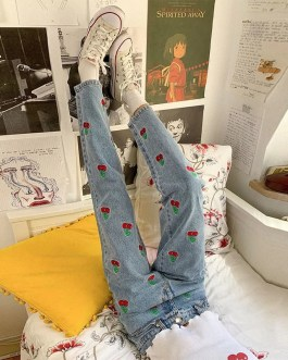 Vintage Embroidery Cherry Cute Skinny Casual Denim Jeans