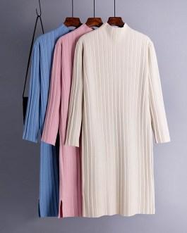 Casual Long Sleeve Jumper Warm Split Sweater Dresses