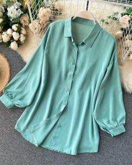 Casual Puff Sleeve Elegant Office Tops Street Wear Blouse