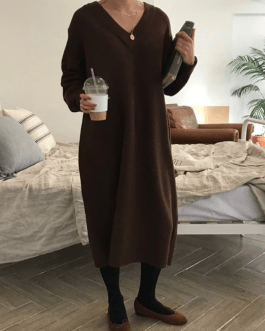 Chic V Neck Knitted Sweater Dress