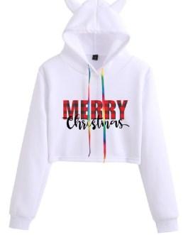Christmas Letters Print Long Sleeve Casual Hoodie