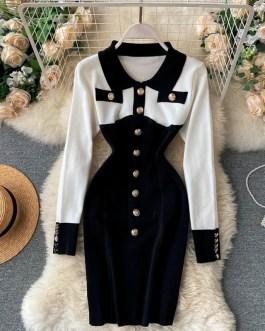 Retro Long Sleeve Slim Pencil Warm Bodycon Sweater Dresses