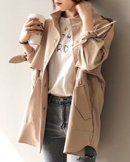 Solid Casual Trench Bow Tie Batwing Sleeve Pockets Coat