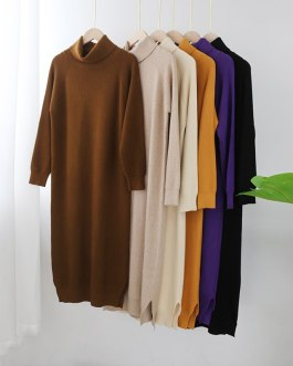 Turtleneck Knitted Long Sweater Dresses