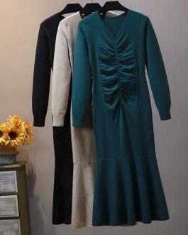 V Neck Long Sleeve Jumper Elegant Ruffles Sweater Dress
