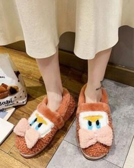 Artificial Short Plush Knitting Wool Upper Closed Toe Indoor Slipper