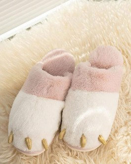 Boa Knitting Wool Upper Closed Toe Indoor Home Slippers