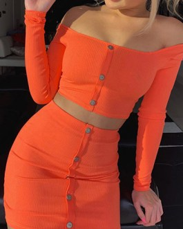 Button Down Front Bandeau Midriff and Skirt 2 Piece Set Dress