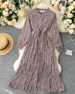 Casual Romantic A-line Holiday Stand Collar Long Sleeve Dresses