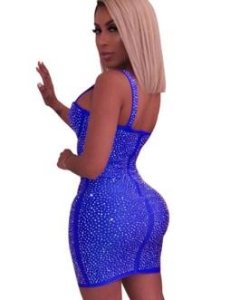 Club Dress Straps Neck Rhinestones Sleeveless Polyester Sexy Dress