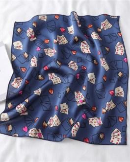 Design Print Silk Hair Small Square Neck Scarf