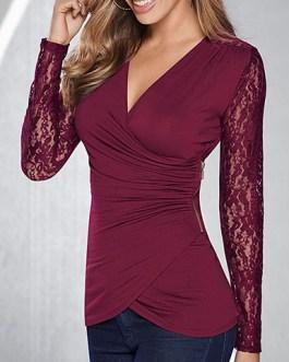 Diagonally-Cut Casual Blouse Long Lace Sleeves