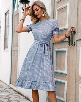 Elegant puff sleeve o-neck dresses