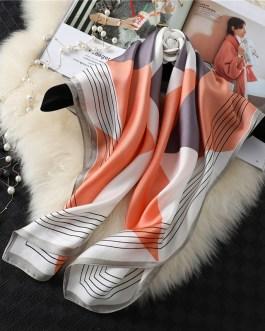 Fashion Geometric Print Silk Square Scarf