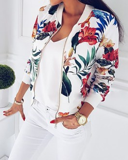 Floral Printed Bomber Zipper Front Style Jacket