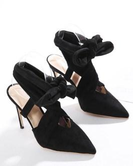 High Heels Pointed Toe Micro Suede Upper Tie Stiletto Heel