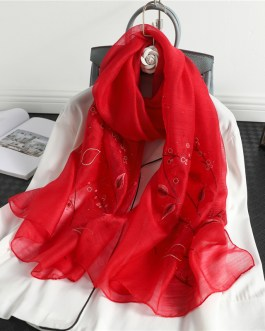 High Quality Embroidery Floral Silk Scarf