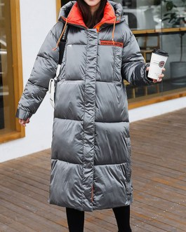Hooded Pockets Zipper Long Sleeves Color Block Outerwear Coat