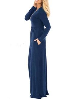 Long Sleeve O Neck Solid Loose Dress