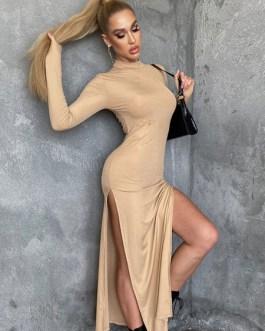 Long Sleeves Jewel Neck Irregular Polyester Floor Length Split Maxi Dresses