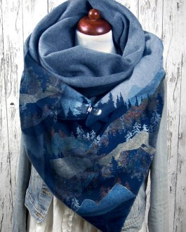 Mountain Treetop Print Pattern Soft Personality Neck Protection Keep Warm Scarf